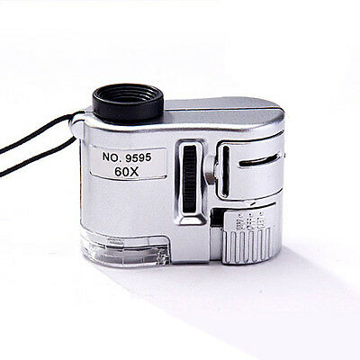 Microscope Jeweler Magnifier Loupe Lens Illuminated Glass With LED UV Light 60X