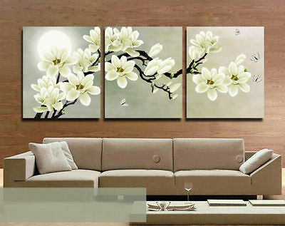 Modern Abstract Wall Decor hand-draw Art Oil Painting 3 piece canvas FLOWER