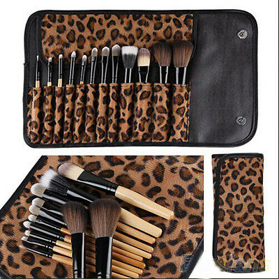 New 12PCS Pro Cosmetic Tool Makeup Eye Shadow Blusher Brush Set Leopard Bag