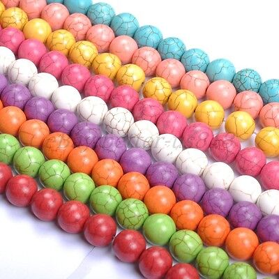 50Pcs Mixed Color TURQUOISE Round Charms Loose Spacer BEADS 6MM