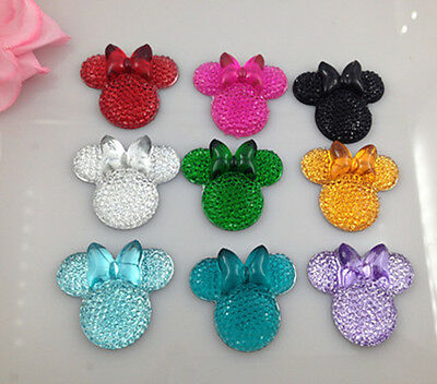 30PCS mix coLOR Minnie's BOW Flat Back Resin Scrapbooking For phone/Craft new
