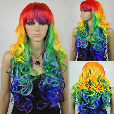 Long Wavy Curly Multi-Color Colorful Rainbow Full Hair Wig Cosplay Party Wig