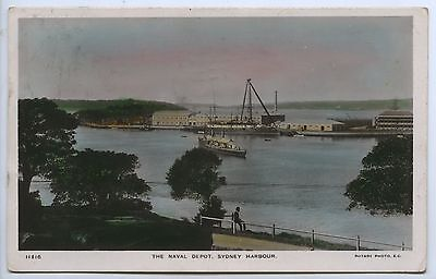 C1908 RP PU TINTED POSTCARD THE NAVAL DEPOT SYDNEY HARBOUR NSW k68