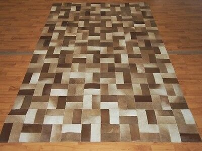 Handmade Tufted Modern Leather Area Rug. 5' x 8' Brown/Red/Ivory/Beige NEW!