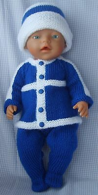 Blue with White Set Doll Clothes Outfit Hand Made for 16-17 inch Dolls