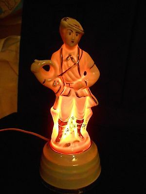 Stunning Early German Porcelain figural French Horn Nite-Lite.Great Piece!