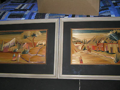 A PAIR OF VINTAGE MEXICAN POPOTILLO (STRAW ART PAINTINGS)