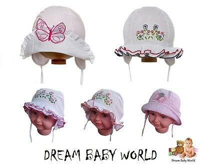 BABY GIRLS cotton sun bonnet - hat NEW spring / summer - size 6 - 24 months GIRL