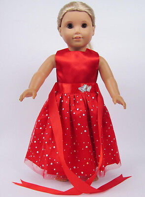 "Hot Doll red Clothes for 18"" American Girl Handmade Hot Summer Dress b1"