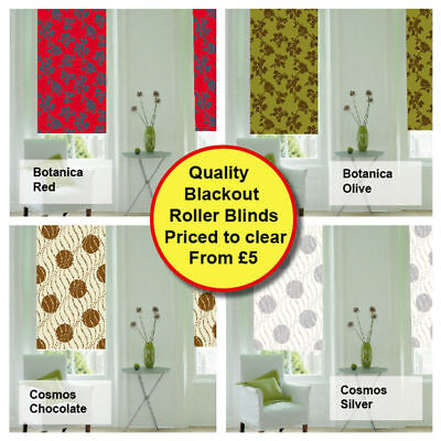 Plain & Patterned Thermal Blind Blackout Roller Blinds From Only £5! 170cm Drop