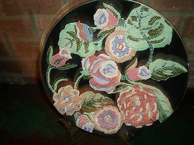 ANDREA BY SADEK PLATE BLACK MULTI-COLORED TEXTURE LOOK FLORAL GOLD TRIM 98/89?