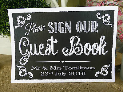PERSONALISED Chalkboard CHALK style PLEASE SIGN OUR GUEST BOOK print vintage