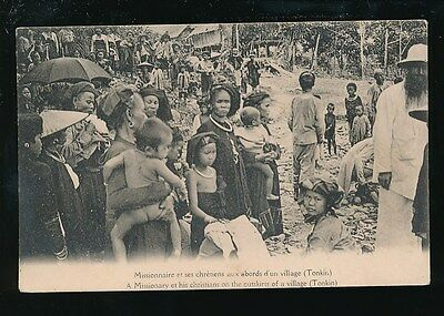 Vietnam Indo-CHina TONKIN Missionary and his Christians c1900s? PPC