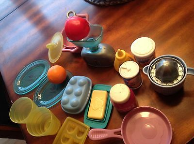 Fisher price play food Mattel  scale food dishes soup pan orange juice maker +++