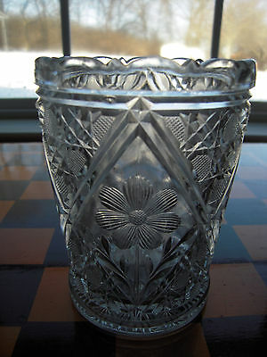 "EAPG Early American Indiana Dunkirk Glass ""Creole Cosmos & Cane"" Spooner c.1906"