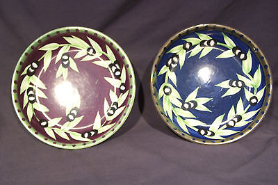 """LAURIE GATES WARE PASTA BOWLS OLIVE 9.5"""""""