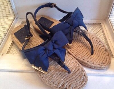 Tory Burch Navy Hemp Gold Accent Bow Sandles Never Used Size 9.5 M