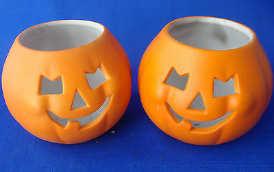 set of 2 Hallmark tealight pumpkin candle holders ceramic table top