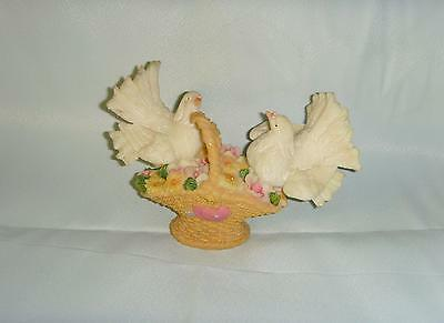Two Doves on a Basket with Flowers Figurine