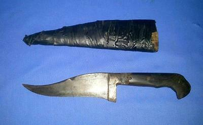 Vintage Old Hand Crafted Iron & Horn Hilt Beautiful Shape & Sheath Safety Knife
