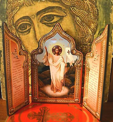 """Russian Orthodox Icon Triptych """"Resurrection of Christ"""" Silver gold stamping"""