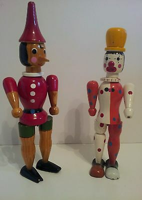 Vintage Pinocchio and Clown, early 1900's wooden jointed toy