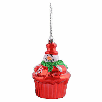 "Christmas Tree Decoration Red Cup Cake Glitter Snowman 4""/10cm Hanging Ornament"