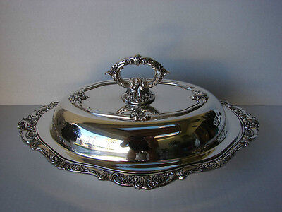 Antique Ornate Wallace Baroque Silverplate Oval Vegetable Dish with Lid