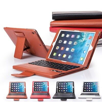 Smart Apple Brown Red Leather Keyboard Cover And Cases For iPad Air IP503