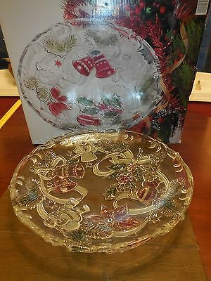 Mikasa Round Large Christmas Platter Heavy Glass Clear Green Pink footed Org box