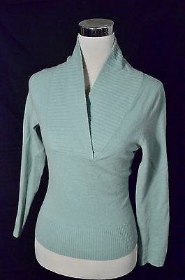 Daniel Bishop Blue 100% Pure Cashmere Soft V-Neck Shawl Sweater Sz Small