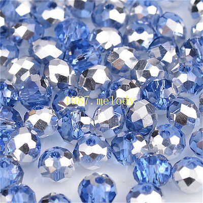 Jewelry Faceted 100pcs light blue+silver #5040 3x4mm Roundelle Crystal Beads