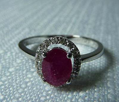 Celine F  Raspberry Red and 1.10ct Genuine Ruby/Diamond 14k White Gold Ring