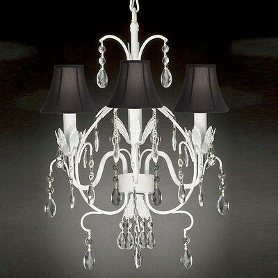 WROUGHT IRON CRYSTAL CHANDELIER LIGHTING TOLE W BLACK SHADE COUNTRY FRENCH WHITE