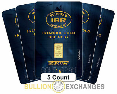 Lot of 5 - 1 gram Istanbul Gold Refinery Bar .9999 Fine (In Assay)