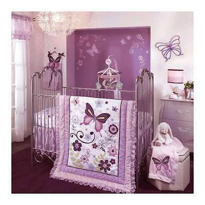 Lavender Purple Butterfly Lambs And Ivy 5 Piece Crib Bedding Set Comforter Quilt