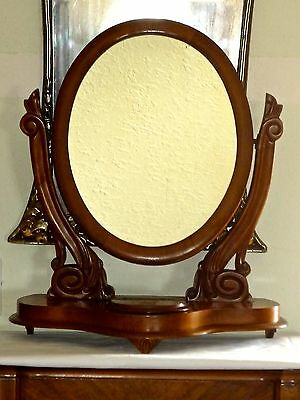 Victorian Walnut Oval Vanity Mirror for Sitting on a Dresser Top