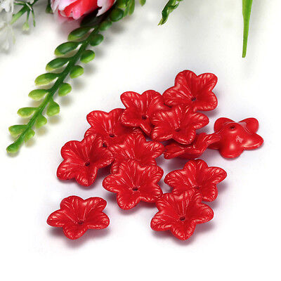 Free Shipping 18mm 30pcs FROSTED Red Color ACRYLIC PLASTIC FLOWER BEADS Y111
