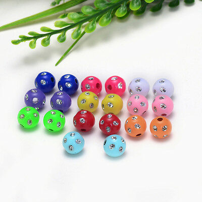 """Free shipping 10mm (3/8 """") Dia 30PCs Acrylic Spacer Beads Mixed Color Round Ball"""