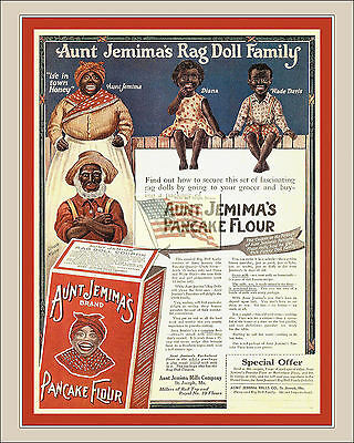 REPRINT PICTURE old AUNT JEMIMA'S RAG DOLL FAMILY pancake flour ad RED MAT 8x10
