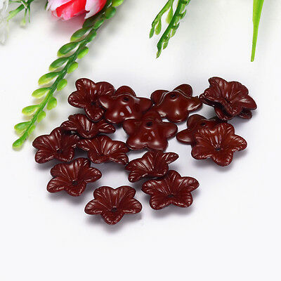 Free Shipping 18mm 30pcs FROSTED Brown Color ACRYLIC PLASTIC FLOWER BEADS Y108