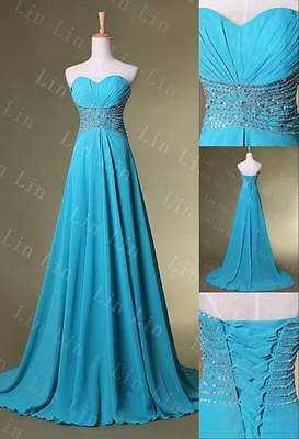 New Sexy Women Blue Evening Party Ball Prom Gowns Formal Cocktail Long Dresses