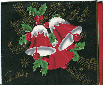 Vintage Christmas Card : Bell Bells with Snow