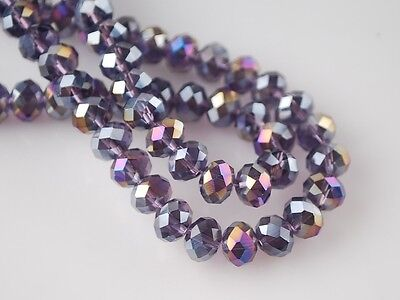 200pcs 4mm Rondelle Faceted Crystal Glass Loose Spacer Beads Bluish Violet AB