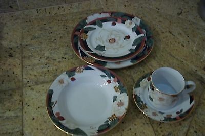 Tienshan-China-MAGNOLIA 5 Piece Place Setting Excellent Condition