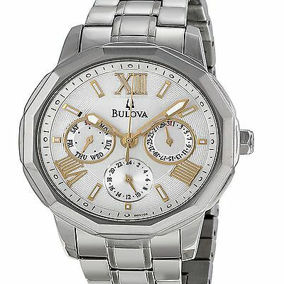 NEW BULOVA MEN 3 CHRONOGRAPH WATCH 96N103 POLYGON SILVER GOLD STAINLESS DAY DATE