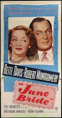 JUNE BRIDE MOVIE POSTER Original Three Sheet HUGE!!! 41by 81 Inches BETTE DAVIS