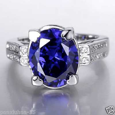 GO91 100% Natural 8.45ct Sapphire Size US 7 14K White Gold Ring (14K stamped)