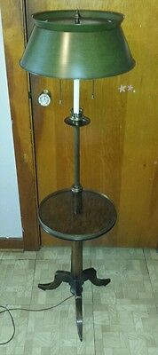 Vintage Frederick Cooper Floor Lamp Table Wood Brass Rare