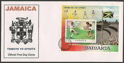 JAMAICA 1999 CRICKET FOOTBALL NETBALL FLAG S/Sheet FDC
